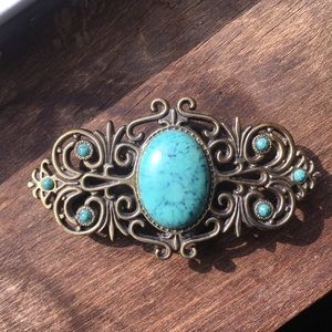 Turquoise and Brass Belt Buckle